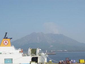 鹿児島新港から見える桜島
